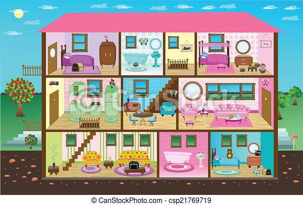 Vector Clip Art Of Cute Digital Doll House Virtual Doll