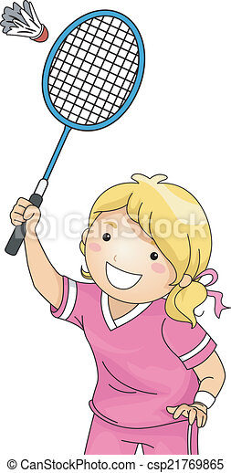 Clip Art Vector of Badminton Girl - Illustration of a Girl Playing ...