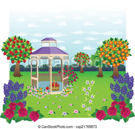 Vectors Illustration Of Gazebo Garden Beautiful Gazebo