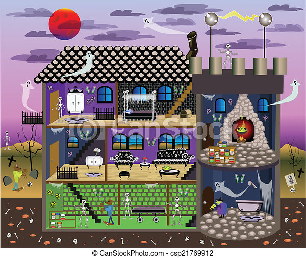 Vector Clip Art Of Haunted Doll House Haunted House