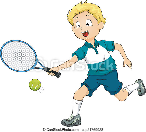 Lawn Tennis Boy Illustration