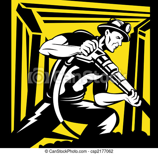 Miner with a pneumatic drill - csp2177062