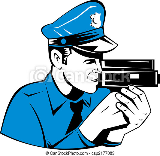 Police officer with speed camera - csp2177083