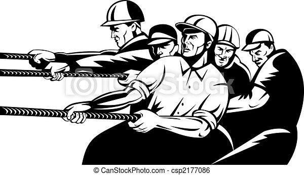 Team of workers pulling rope - csp2177086