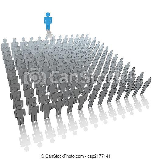 Leader speaker talks to large audience group of people - csp2177141