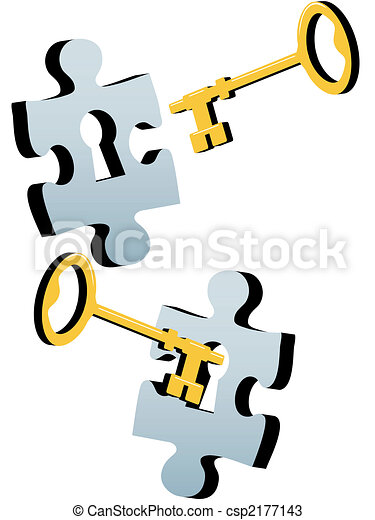 Key to unlock the lock and solve Jigsaw Puzzle - csp2177143