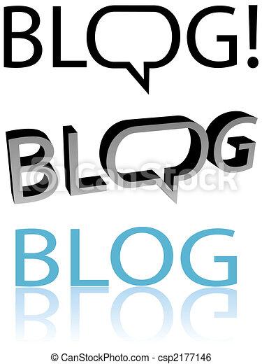 BLOG Flat and 3D blogger speech bubble balloon copyspace - csp2177146