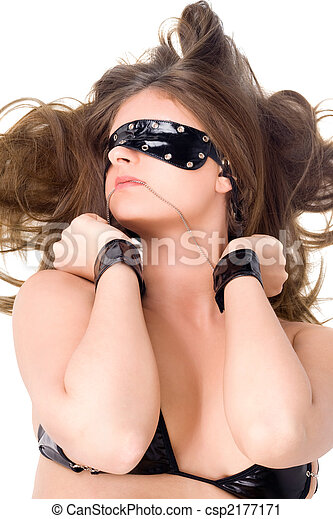 Sexy young woman in handcuffs and a bandage on eyes - csp2177171
