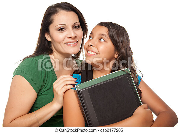 Proud Hispanic Mother and Daughter Ready for School - csp2177205