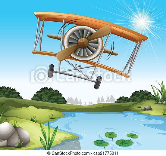 A plane above the pond - csp21775011