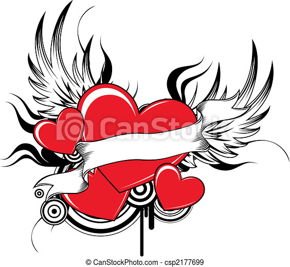 cool winged hearts - csp2177699