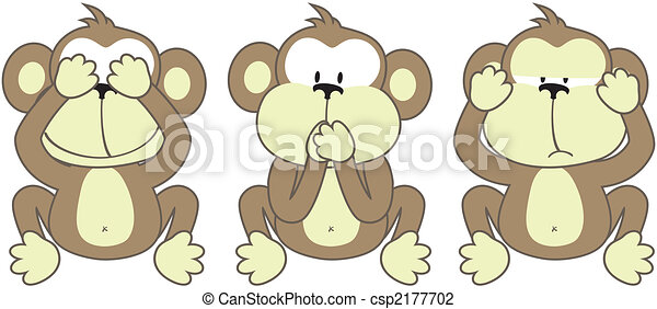 three monkeys saying - csp2177702