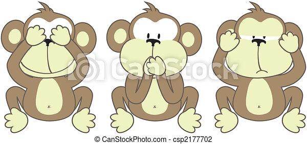 three monkeys saying - csp2177702