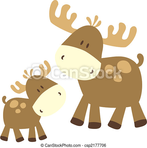 baby moose and parent - csp2177706