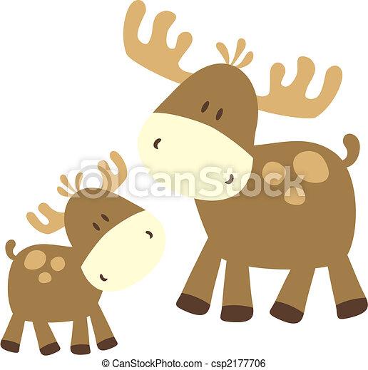 baby moose and parent - csp2177706