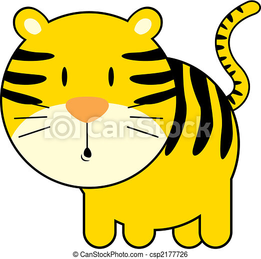 Clip Art Vector of cute baby tiger - isolated baby tiger ...