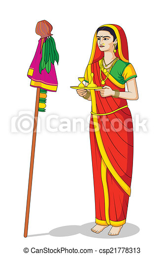 Woman offering prayer for Happy Gudi... csp21778313 - Search Clipart ...