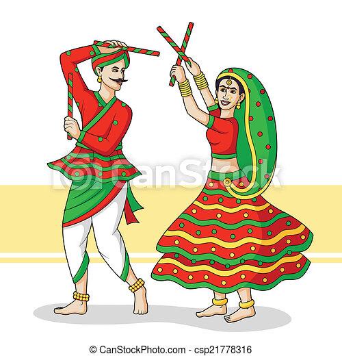 Vector Clip Art Of Couple Playing Dandiya Couple Playing