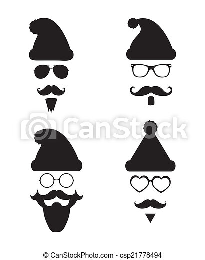 Eps Vectors Of Santa Klaus Fashion Silhouette Hipster Style Black And Csp21778494 Search