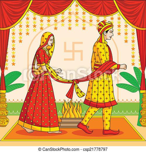 eps vectors of bride and groom in indian hindu wedding in
