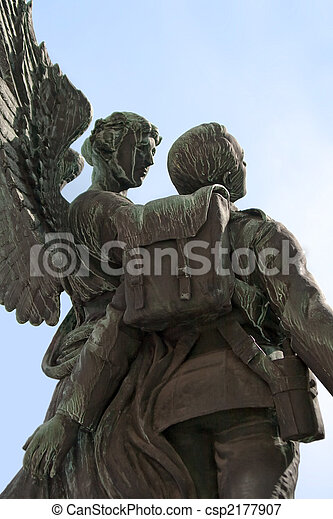 Angel and soldier statue - csp2177907