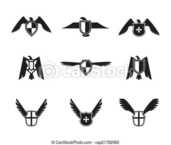 Clip Art Vector of Eagle Icon Shield Set - Eagle wings spread lift ...