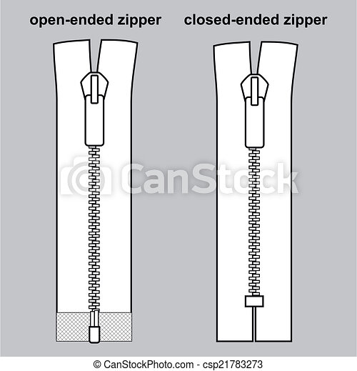 Vectors Illustration of Zipper types. Closed-ended and ...