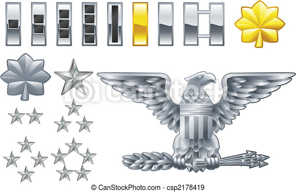 american army officer ranks insignia icons - csp2178419