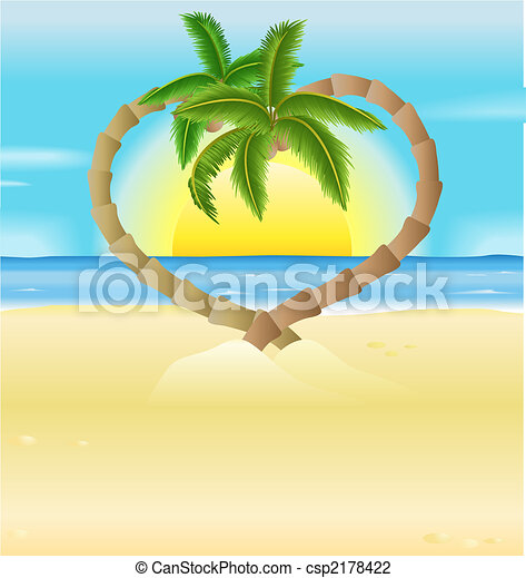 romantic beach, heart palm trees illustration - csp2178422