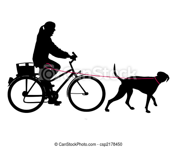 Woman on bicycle with dog on leash - csp2178450