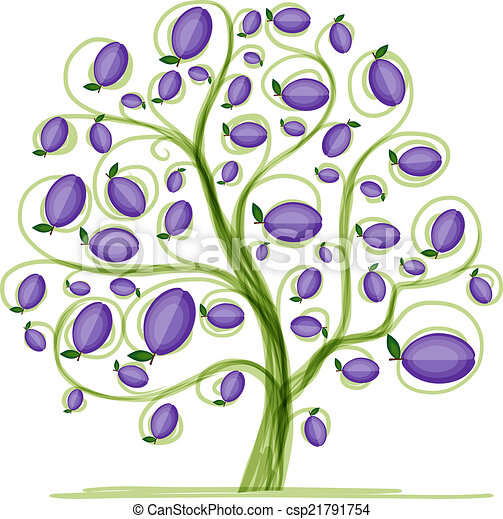 Clipart Vector Of Plum Tree For Your Design Vector