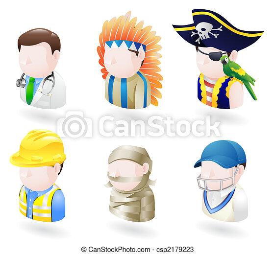 avatar people web icon set - csp2179223