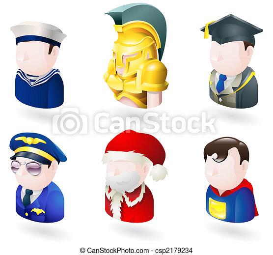avatar people web icon set - csp2179234