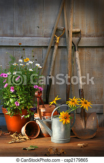 Garden shed with tools and pots - csp2179865