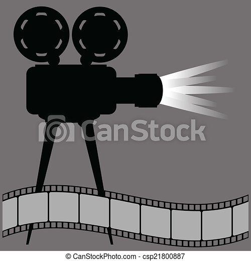 Vector of old movie projector silhouette and film strip on a gray ...