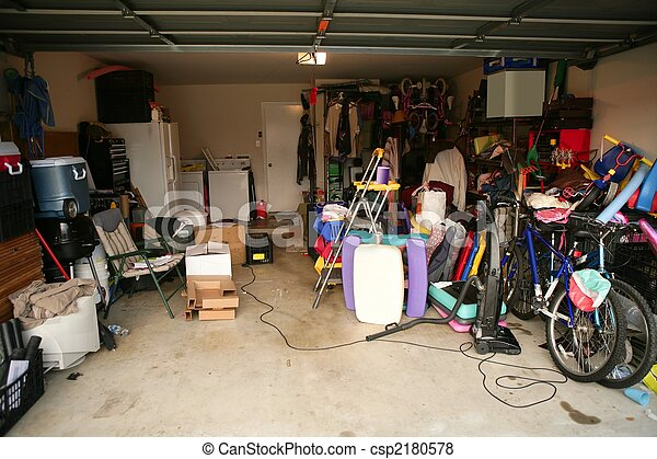 messy abandoned garage full of stuff - csp2180578