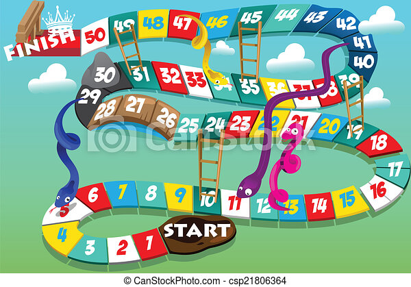 Vector of Snakes and ladders game - A vector illustration of snakes ...