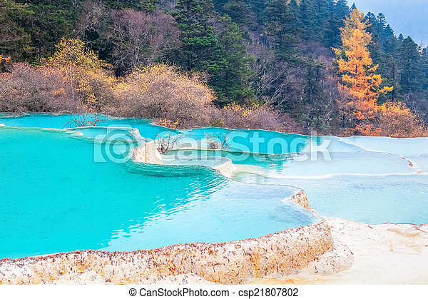 beautiful clear water with blue calcification pond  - csp21807802