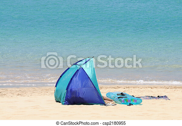 Tent on the beach. Canary Island Fuerteventura, Spain - csp2180955