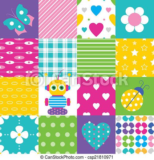 Vectors Illustration of happy patchwork pattern collection ...