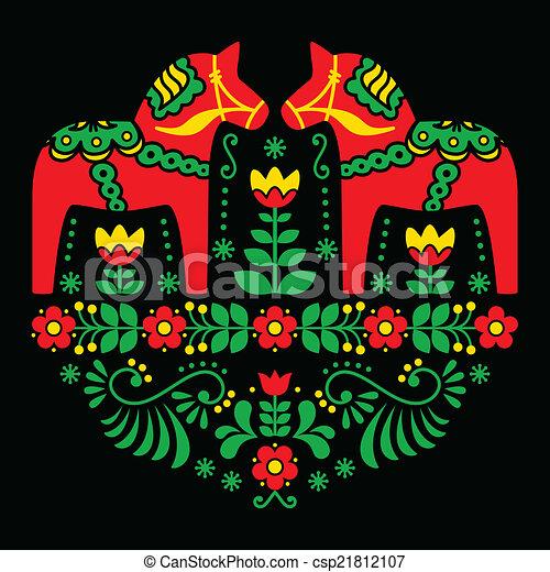 Schwedische traditionelle muster  Vektor Clipart von schwedische, Blumen-, Pferd, dala, Muster ...