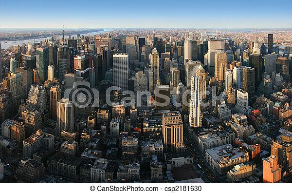 Aerial panoramic view over Manhattan, New York - csp2181630