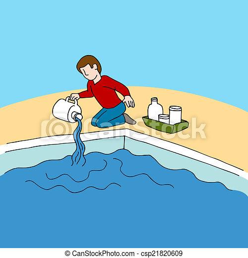Clipart vecteur de produits chimiques piscine an image - Clipart piscine ...