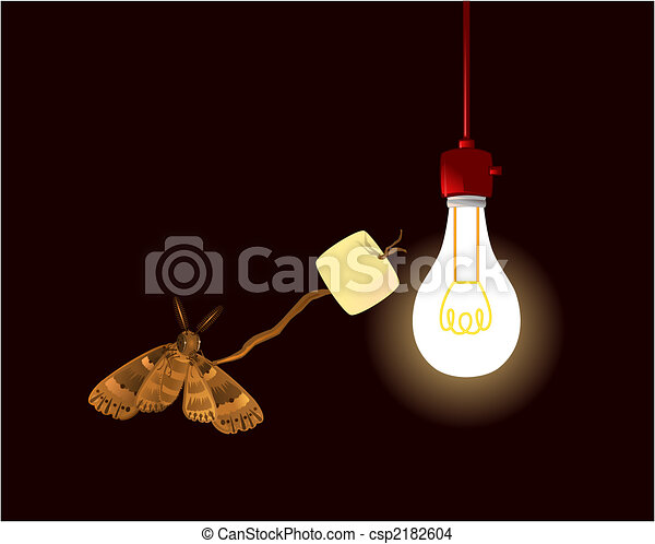 EPS Vector of Moth with marshmallow and bulb - A humorous common ...:A humorous common brown moth is roasting its snack over a traditional hot light  bulb.,Lighting