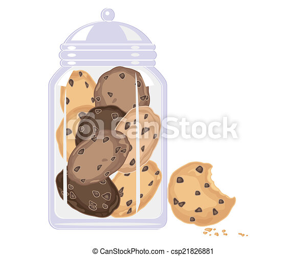 Vector of cookie crunch - an illustration of a glass jar ...