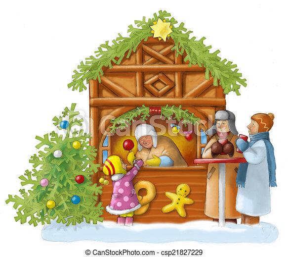 clip art of weihnachtsmarkt leute auf dem. Black Bedroom Furniture Sets. Home Design Ideas