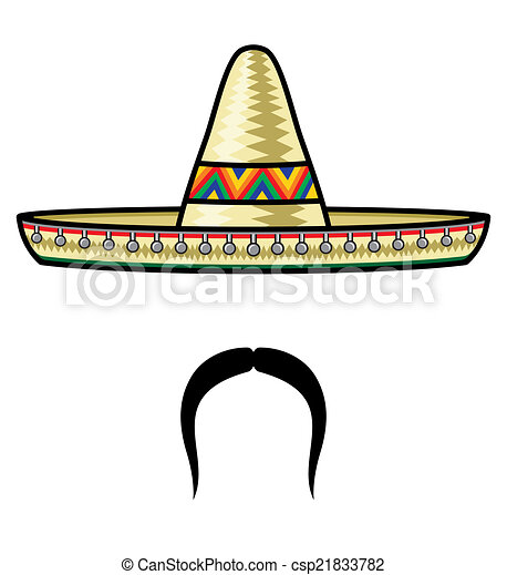 Sombrero and moustache  - csp21833782