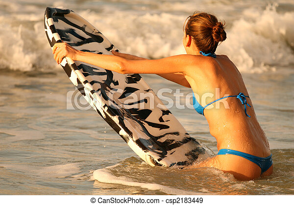 Water sport with boogie board - csp2183449