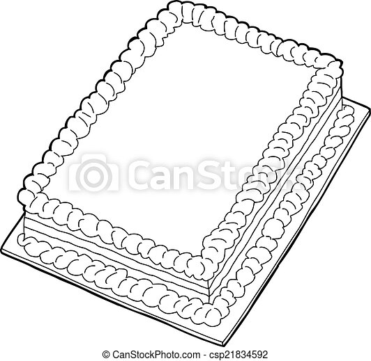 Cake Clipart Top View : EPS Vectors of Outlined Cake - Fancy sheet cake with copy ...