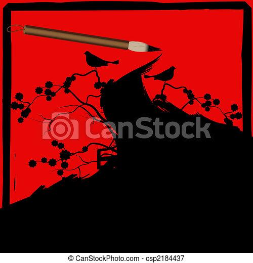 Chinese calligraphy ink brush grunge - csp2184437